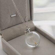 QIHE – collier en forme de pissenlit pour femmes, bijoux en verre, rond, ovale, pendentif de souhait