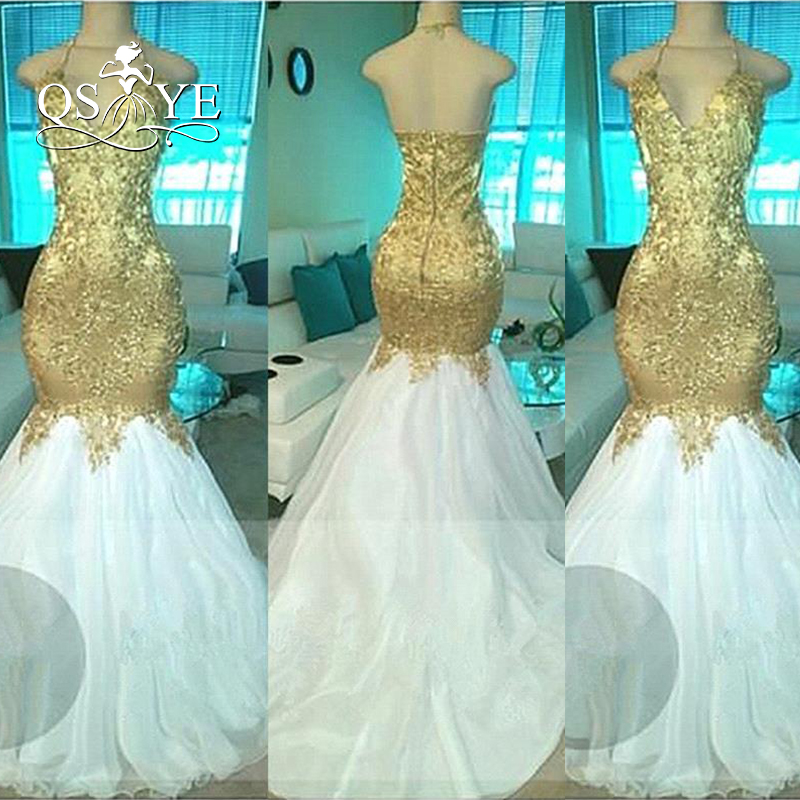 Long White And Gold Prom Dresses 2017 Mermaid Evening