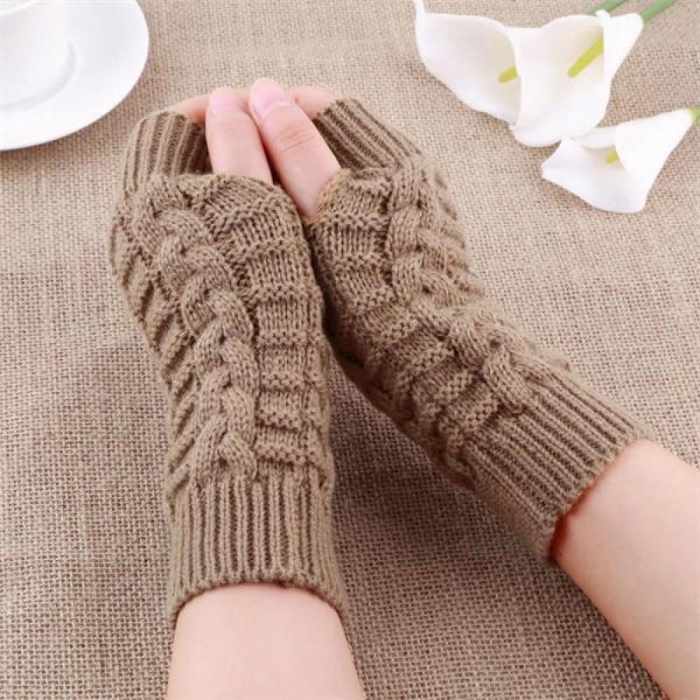 Women Sleeve Twist Arm Knitted Short Arm Warm Fingerless High The Cuff Gloves Keep Winter Elastic Solid Wool Warmers Arm