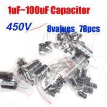 8 значений всего 78 шт. 450V 1 мкФ~ 100 мкФ Алюминий электролитический набор различных конденсаторов