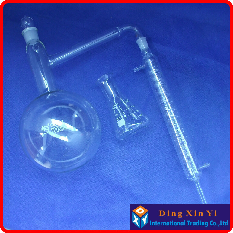ФОТО 2000ml Distiling Apparatus with ground glass joints,Glass distillation unit,distillation flask+graham condenser+conical flask