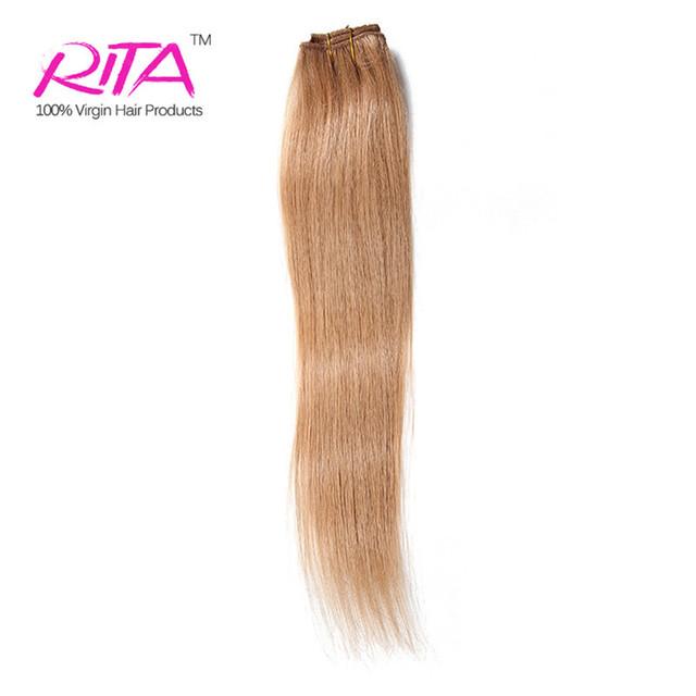 Blonde Clip en extensiones de cabello humano 100 g pelo virginal brasileño Clip en extensión recta pelo humano 100 g 1 Unidades Color 27