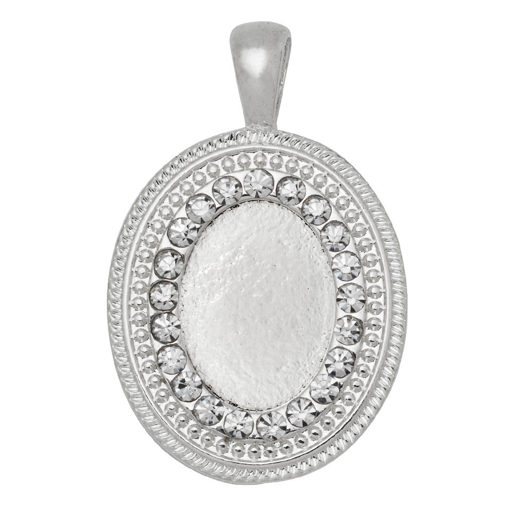 silver plated oval pendant bezel charms 18 x 13 mm cabochons to make jewellery