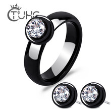 New Fashion Real Ceramic Jewelry Set For Women Lady AAA Cubic Zironia Stud Earrings & Rings Jewellery Set Collection bisuteria(China)