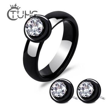 b3dc0562f1de Nueva moda Real de cerámica conjunto de joyas para las mujeres dama AAA  Cubic Zironia pendientes y anillos de joyería conjunto de la colección  bisuteria
