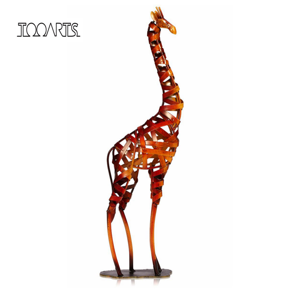 Tooarts Metal Figurine Iron Rooster Home Decor Articles: Tooarts New Brand Metal Sculpture Iron Braided Giraffe