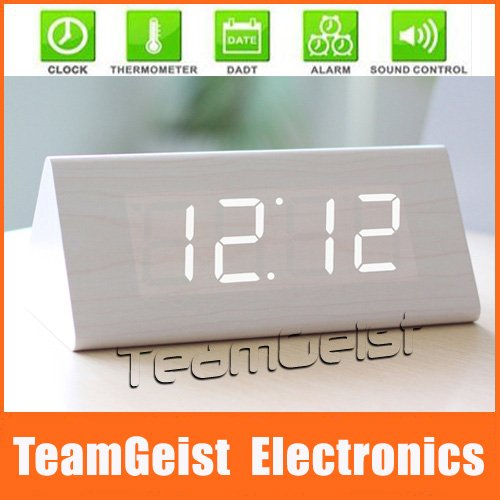 Cool White Home Desktop Table LED Clock, Pyramids Table Wooden Led Digital Electronic Alarm Clock & LED Night Vision Thermometer