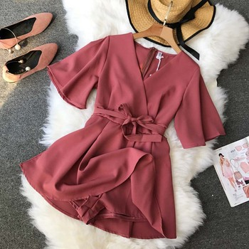 NiceMix Women's V neck flare sleeve solid color Playsuits Lady's Vintage Spring Summer Wide leg shorts Jumpsuits rompers new 3