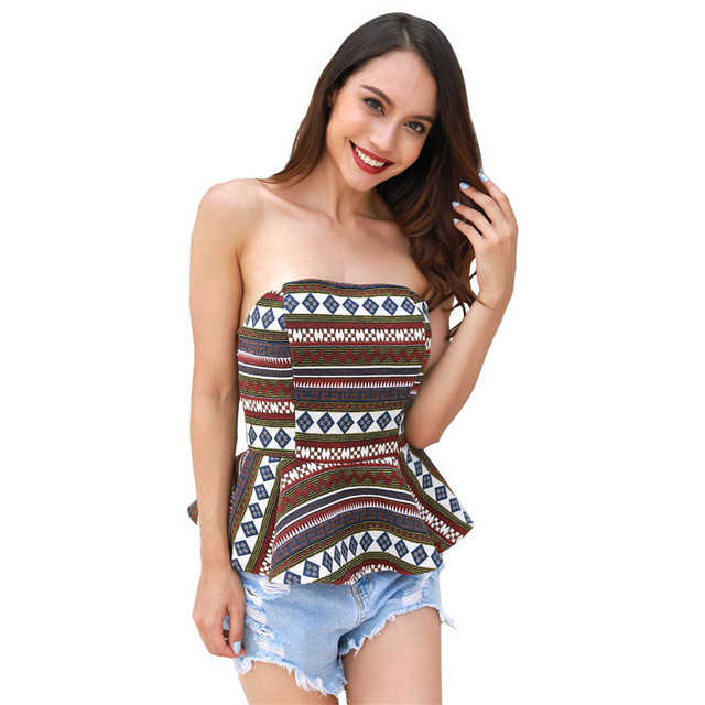 cb07de2efd3b62 Aphrodite Home Summer Slim Render Short Top Sexy Women Sleeveless Strapless  Tank Tops Print Ruffles Crop