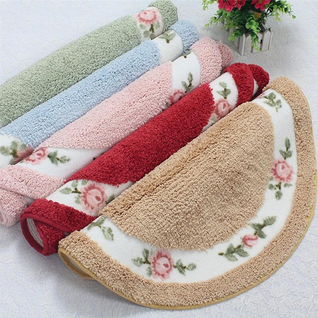 Hand Wash and Machine Washable Kitchen Rugs Roses Round Floor Mats ...