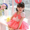 Fashion 2016 new summer baby girl clothes kids clothing stripe lace bow girl dresses kids party dresses for girls princess dress