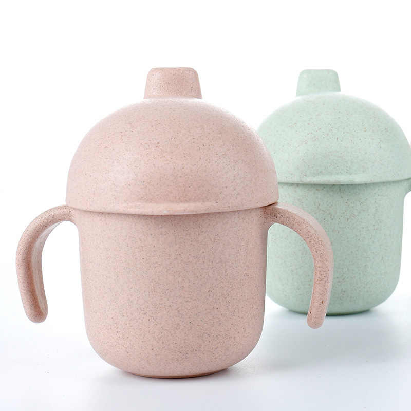Vaso de agua de paja de leche para comida de bebé de 160ml con soporte para dos manos, botella a prueba de fugas, copa de bebida para niños, tazas de succión, regalo de Navidad