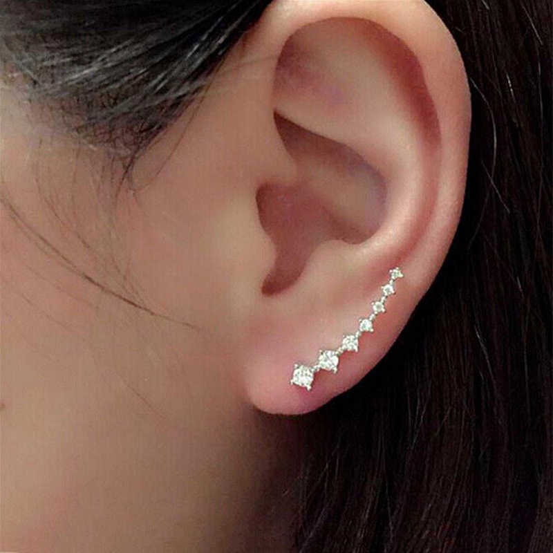 2019 New Fashion Crystal Rhinestone Ear Cuff Wrap Stud Clip Earrings for Women Jewelry Accessories Gifts Long Ear Clip 1 pair