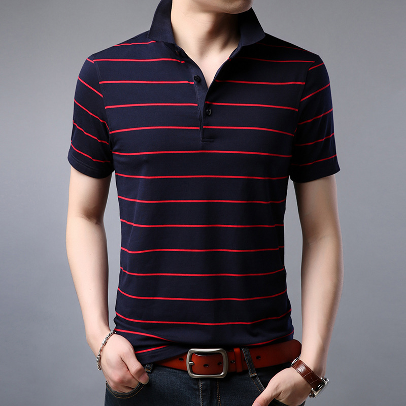 Men 2019 Summer Fashion Cotton Striped   Polo   Shirt Men Casual Slim Fit Short Sleeve   Polo   High Quality Mens Brand Clothes XXXL