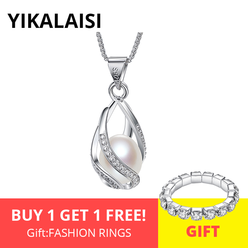 YIKALAISI 925 Sterling Silver Chain Natural Freshwater Pearl Choker Pendants Jewelry For Women 8-9mm Pearl 4 Colour