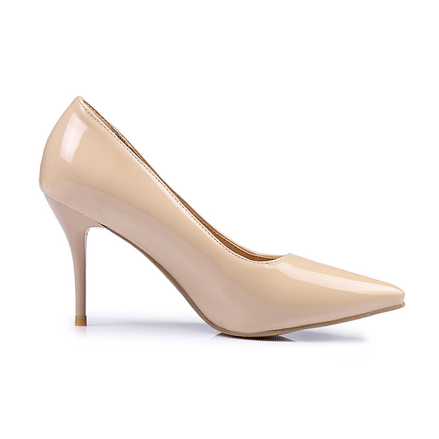 Brand New Classic Black Red Women Glossy Nude Pumps Stiletto High Heels White Lady Formal Shoes EMP50 Plus Big Size 10 48 30 45