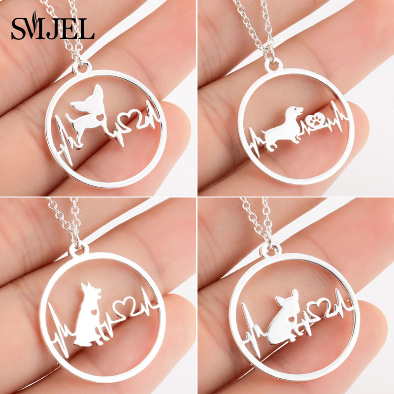 SMJEL Cartoon Dog Pendant Necklace for Women Fashion German Shepherd Jewelry Heartbeat Paw Choker Necklace Chain for Kids(China)