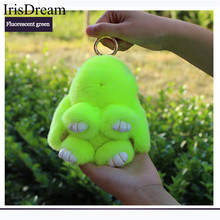 IrisDream 19CM Cute Rabbit Fur Keychain Monster Pompom Women Trinket Fur Key Chain Bag Car Charm Decoration Pendant Jewelry