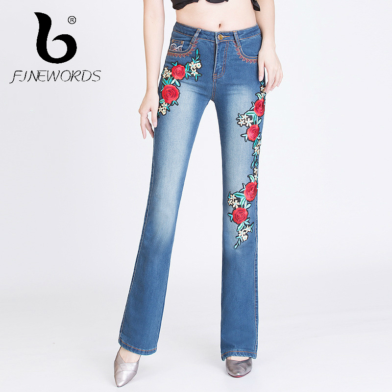 FINEWORDS Vintage Jeans Woman 3D Rose Embroidery Beading High Waist Jeans Slim Bell Bottom Skinny Stretch Embroidered Flare Pant