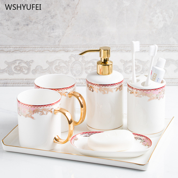 Fashion luxury ceramic bathroom creative toothbrush wash set bathroom brushing supplies mouth cup wedding gift