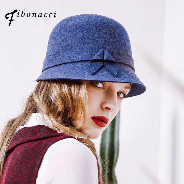 Fibonacci 2017 Nuevo Otoño Invierno mujer Irregular ala sombreros sombrero  de fieltro de lana de la cúpula de las mujeres sombreros 45cc24eab34