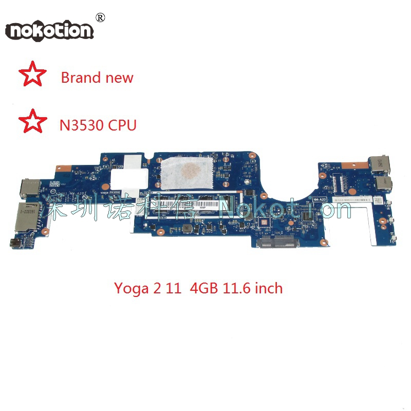 NOKOTION brand new AIUU1 NM-A201 Main board For yoga 2 11 laptop motherboard SR1W2 N3530 CPU onboard full test nokotion brand new cn 0y3pxh 0y3pxh for inspiron 15 3531 laptop motherboard zbw00 la b481p sr1w2 n3530 cpu onboard ddr3