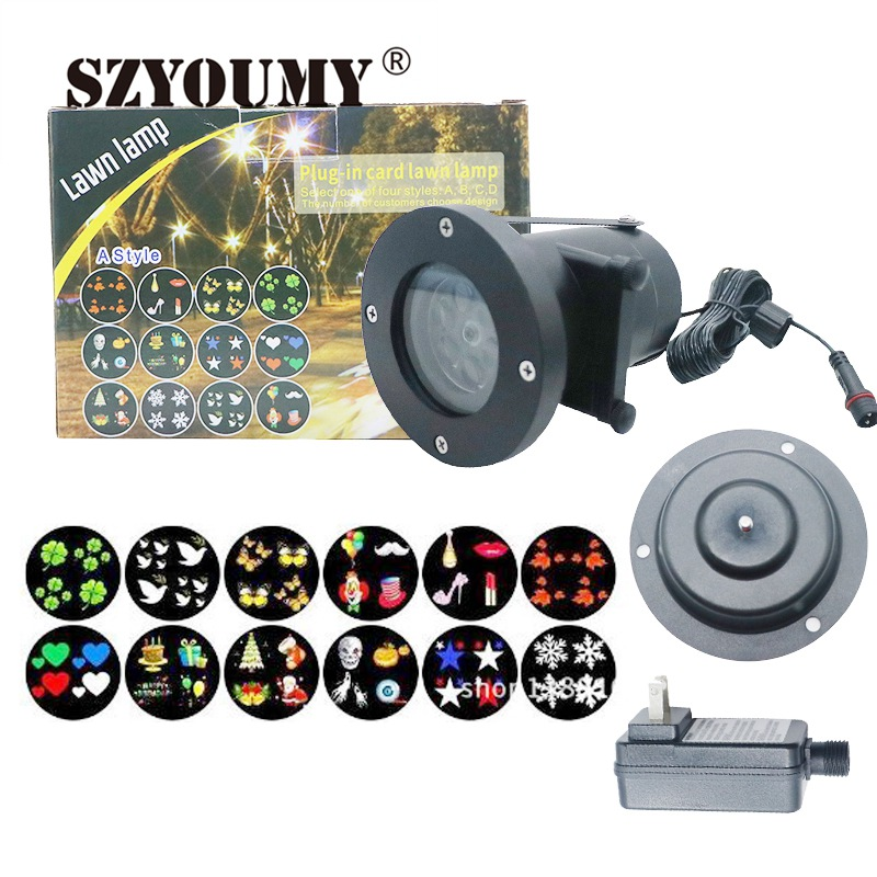 SZYOUMY 12 Patterns Christmas Laser Snowflake Projector Lamp Outdoor LED Waterproof Moving snow Projector Light Home Garden Xmas