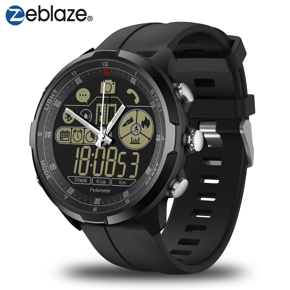 IP67/50 M resistente al agua ZEBLAZE VIBE 4 híbrido Smartwatch resistente de 1,24 pulgadas de caracteres LCD FSTN y manos mecánicas de cristal de zafiro reloj inteligente de los hombres