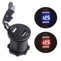 Nuevo 12-24 V LED Duelo Puerto USB Cargador Con Voltímetro Digital Auto Azul Rojo Llevó el envío libre de Alta calidad