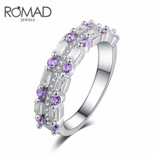 Romad Zinc Alloy Rings for Women White Wedding Birthstone Bride Engagement Brand Crown Cross Ring Jewelry Size 6 7 8 9 10 цена