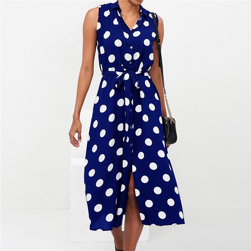 Long Dress Women Sexy Summer Polka Dot Beach Chiffon Dresses Boho Style Casual Party Turn Down Collar Office Shirt Dress Vestido 10