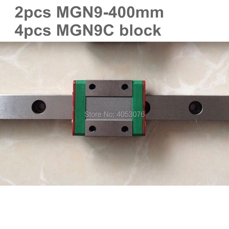 Linear guide MGN9 miniature linear rail slide 2pcs MGN9- 400mm linear rail guide +4pcs MGN9C carriage for cnc partsLinear guide MGN9 miniature linear rail slide 2pcs MGN9- 400mm linear rail guide +4pcs MGN9C carriage for cnc parts