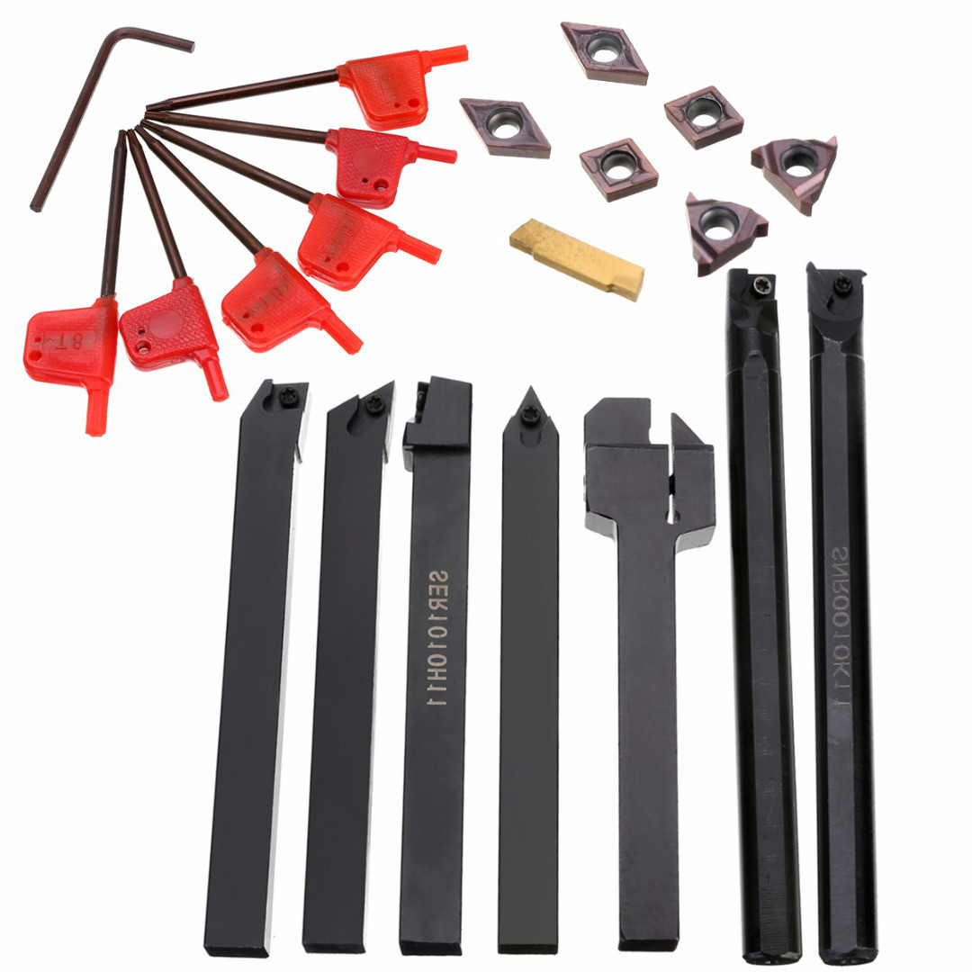 21pcs/set 10mm Shank Lathe Turning Tool Holder Boring Bar + Carbide PVD Set with Wrenches For Lathe Turning Tool
