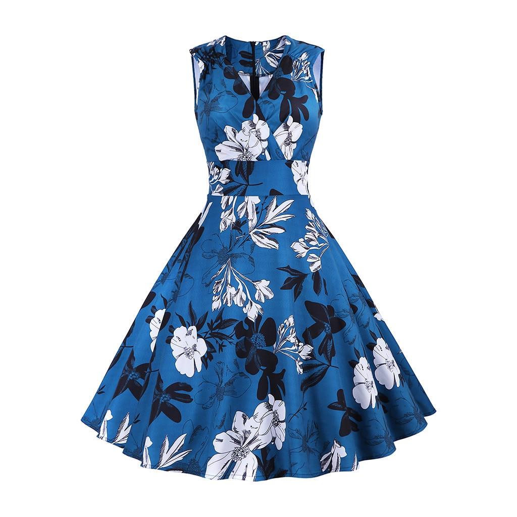 57bde651cdf9a Women's Floral Sping Retro Rockabilly V-Neck Dress Women's Fashion ...