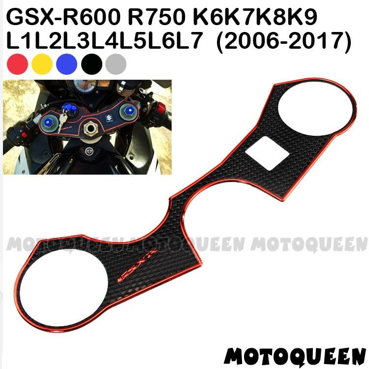 Motorcycle Decal Sticker Pad Triple Tree Top Clamp Upper Front End For SUZUKI GSXR 600 750 K6 K7 K8 K9 L1 L2 L3 L4-L7 2006-2017