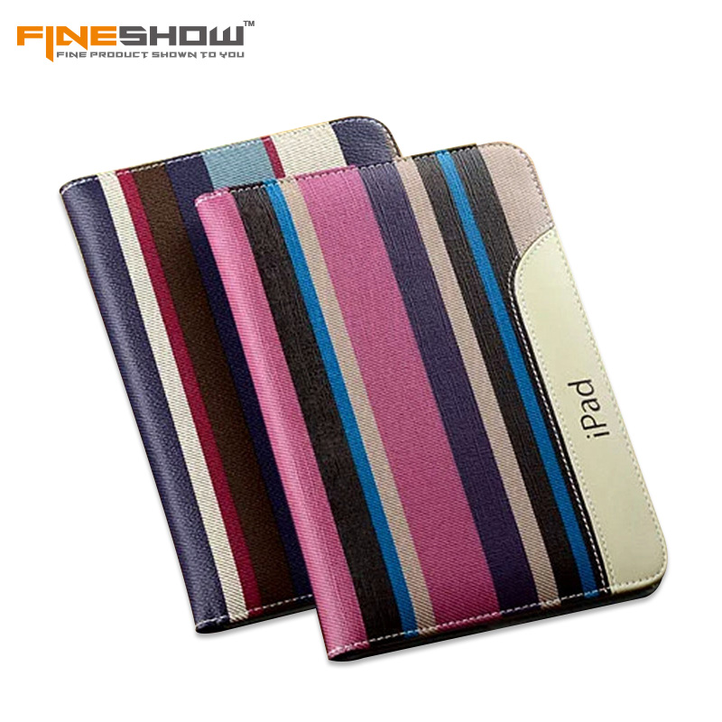 Fineshow Flip Book Case for iPad Mini High Quality New Fashion PU Leather Case for iPad Mini 2 3 Striped Smart Tablet Cover