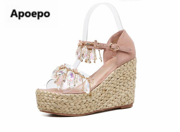 Apopeo brand wedges sandals ladies 2018 Rhinestone Bohemia platform sandals metal chain gladiator high heels shoes women summer phyanic 2017 gladiator sandals gold silver shoes woman summer platform wedges glitters creepers casual women shoes phy3323