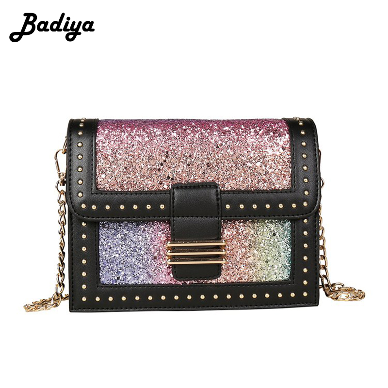 Hot sell Sequins Girl Shoulder Bag Colorful Quality Pu Leather Ladies Flap Buckle Bag Chain Strap Crossbody Bags Female Bolsa