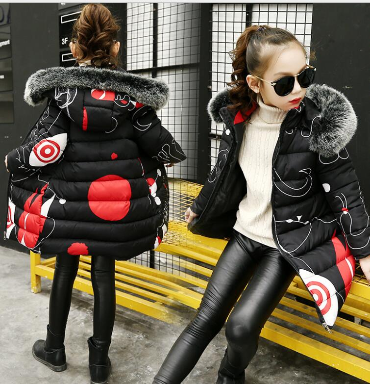 Teenage Girls 2018 New Black Red Thick Coat Winter clothes Wear Costume For Size 6 7 8 9 10 11 12 13 14 Years Child Down Jackets girl long korean tide thick warm down jacket winter for size 6 7 8 9 10 11 12 13 14 years child new black blue green outerwear