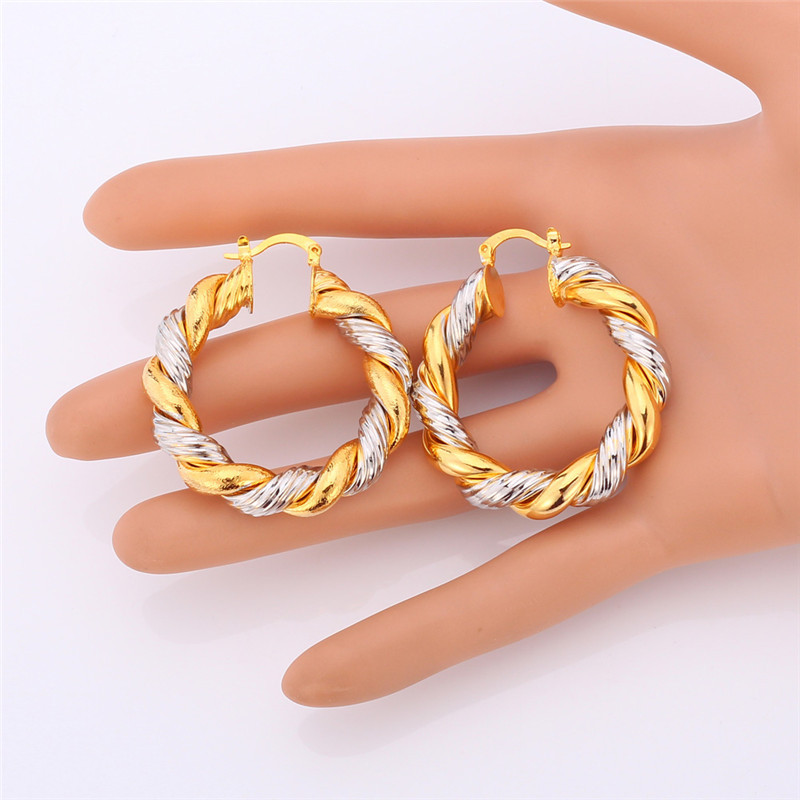 Starlord Vintage Round Earrings For Women Hot Fashion Jewelry Two Tone Gold Color Hoop E683 In From Accessories On