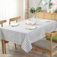Nordic Cotton Linen Waterproof Tablecloth Black White Pink Plaid Table Cloth For Cover 2019 New Rectangular 1PC