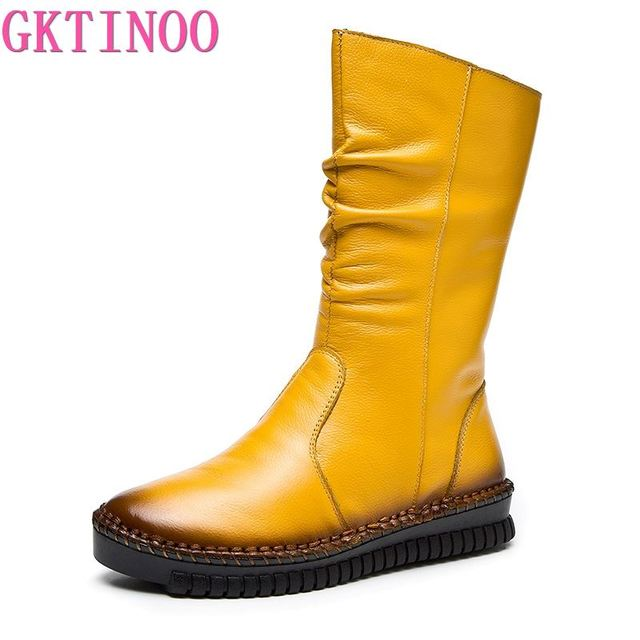 GKTINOO 2020 Womens Boots Autumn Leather Handmade Retro Flat Boots Flat Shoes Genuine Leather Boots for Women