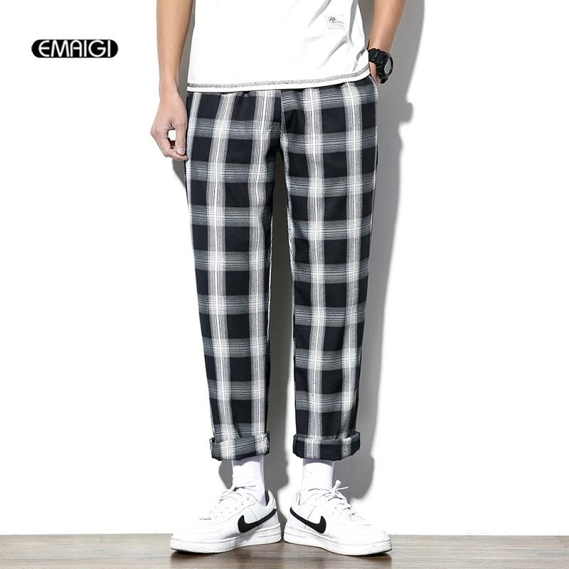 Lookinto Yourheart Comprar Pantalones Informales De Tela Escocesa Para Hombre Haren Hip Hop A La Moda Chandal Con Cintura Elastica Talla M 5xl Online Baratos