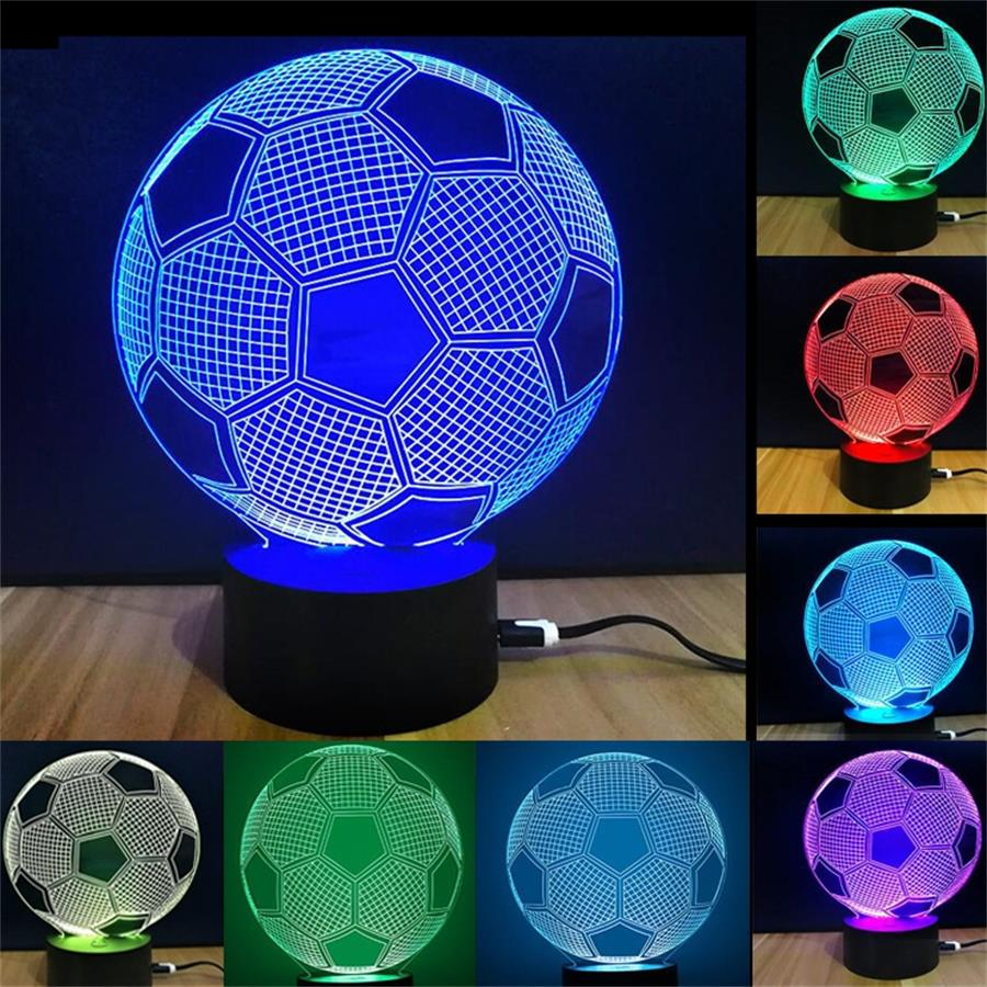 2018 New led Night Light 3D Lamp football Acrylic Multicolor USB Bedroom Table Night light Decor Creative Desk lamp for Kid Gift spiderman shape night light 3d stereo vision lamp acrylic 7 colors changing usb bedroom bedside night light creative desk lamp