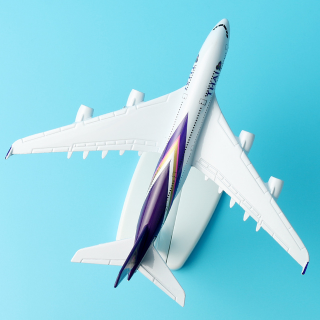 16cm Thai Airline A380 Plane Model alloy model aviation model Aircraft Thailand Airways A380 Airplane Model Stand Craft 1:400 2
