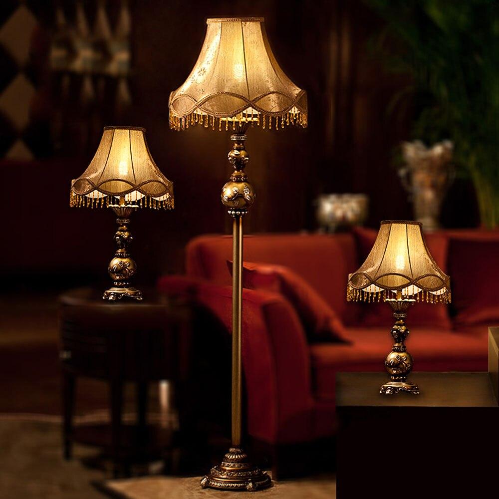 Resin Led Floor Lamp Antique Luxurious Bedroom Design Bulb E27 110V 220V European