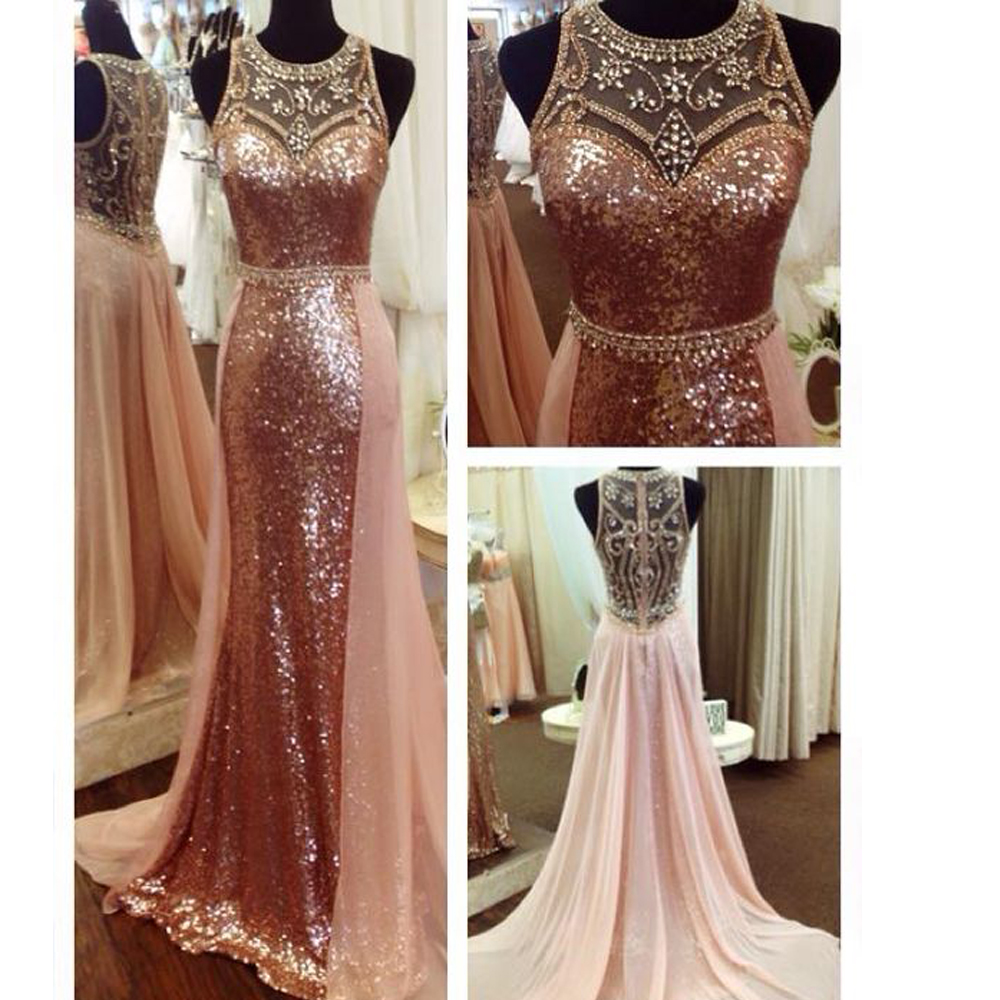 rose gold prom dresses sequins crystal beading sparkly bling evening women party