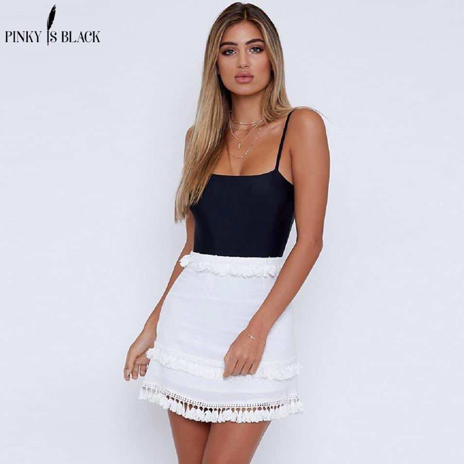 Pinky Is Black 2018 Summer Style Sexy Linen Tassel Skirt Women High Waist Candy Color Skirts Vintage Elegant Short Skirt Bottoms