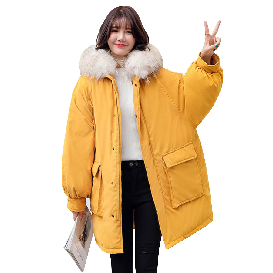 winter coat women 2019 fashion cotton-padded fur collar hooded winter jacket women Medium-long outwear   parka   female plus size