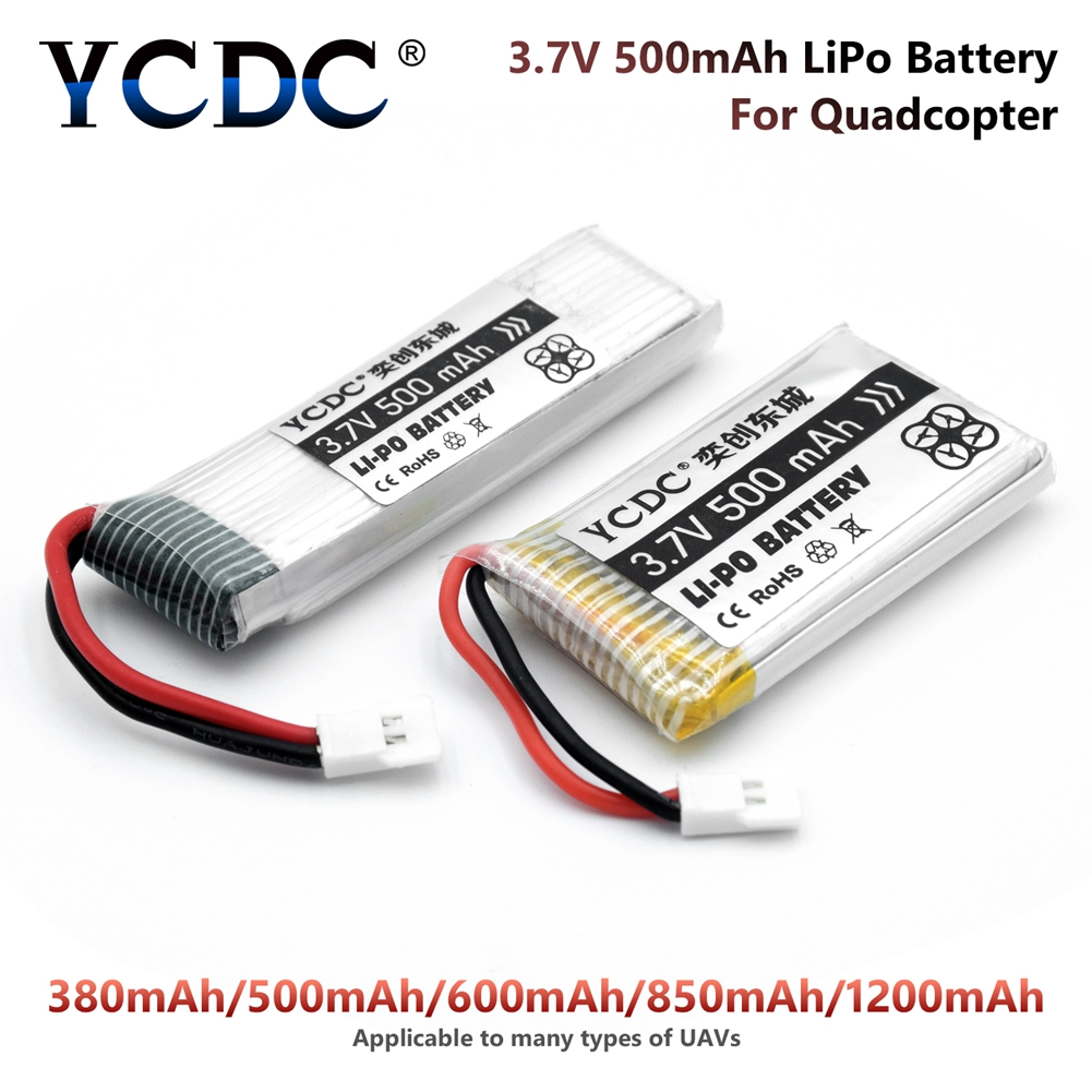 YCDC Li-Po Battery 3.7V 380 - 1200 MAh For  Syma X5C X5SW X5C-1 H107 Hubsan Drone Rechargeable Batteries For Camera Quadcopter